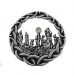 LARGE Outlander Inspired Standing Stones Silver Plated Brooch with Moonstone 1129